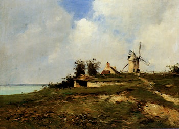 A Coastal Landscape With Windmill by Jean Baptiste Antoine Guillemet