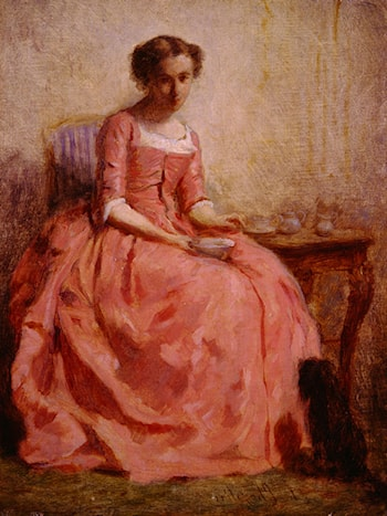 Girl in a Pink Dress Reading, with a Dog by Charles Chaplin