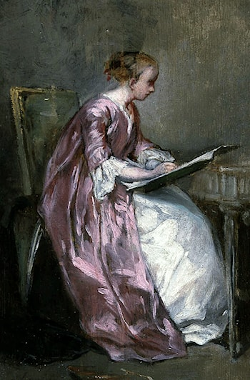 A Young Girl Drawing by Charles Chaplin