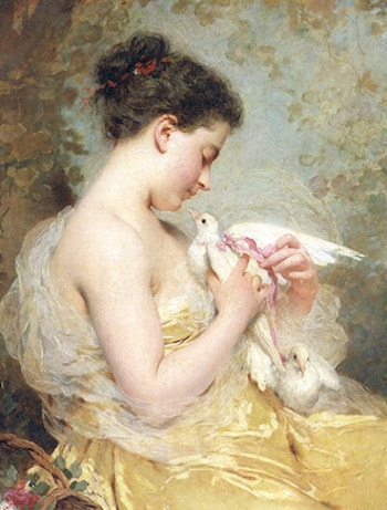 A Beauty with Doves by Charles Chaplin