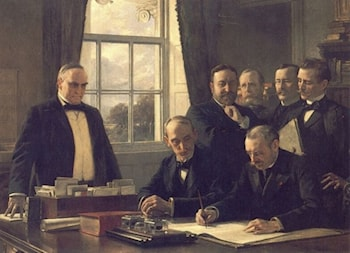 The Signing of the Protocol of Peace Between the United States and Spain on August 12, 1898 by Theobald Chartran