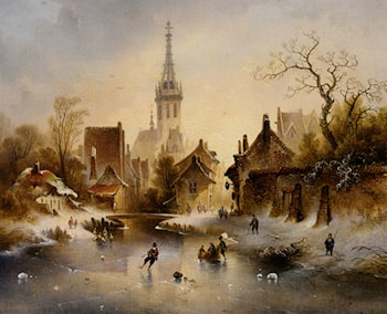A Winter Landscape with Skaters near a Village by Charles van den Eycken