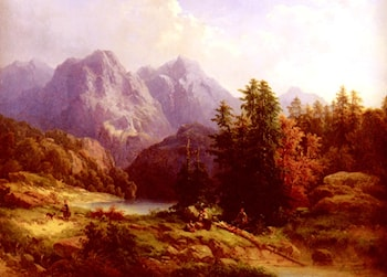 Woodsman And Family In An Alpine Landscape by H. Baumgartner