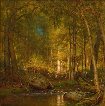 Sunlight in the forest by Thomas Worthington Whittredge