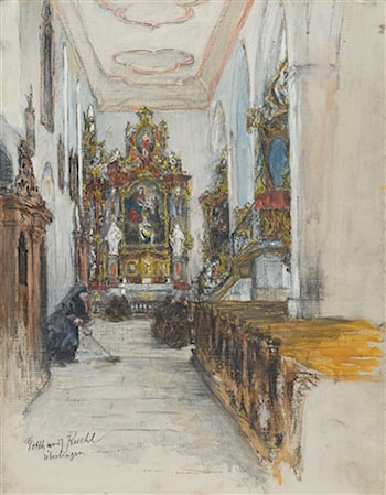 View of the side altar in the Franciscan church at Ueberlingen by Gotthardt Johann Kuehl