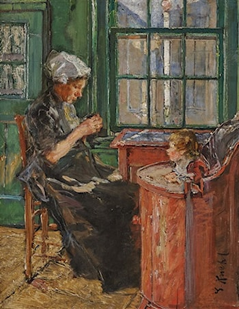 Dutch Seamstress with Child at the Window by Gotthardt Johann Kuehl
