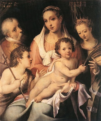 Holy Family with the Infant St John the Baptist and St Catherine of Alexandria by Bartolomeo Passerotti