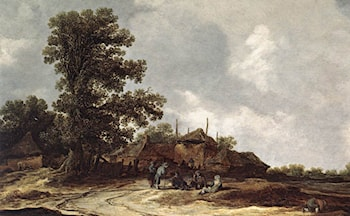 Farmyard with Haystack by Jan van Goyen