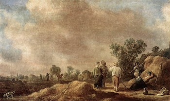 Haymaking by Jan van Goyen