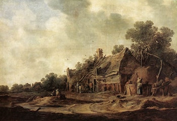 Peasant Huts with a Sweep Well by Jan van Goyen