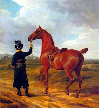 Lord Rivers' Groom Leading a Chestnut Hunter towards a Coursing Party in Hampshire by Jacques-Laurent Agasse