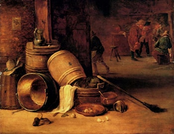 An interior scene with pots, barrels, baskets, onions and cabbages with boors carousing in the background by David the Younger Teniers