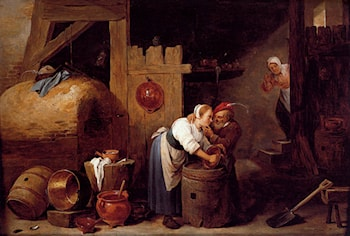 An Interior Scene With A Young Woman Scrubbing Pots While An Old Man Makes Advances by David the Younger Teniers