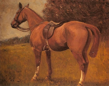 A Saddled Hunter in a Landscape by Sir Alfred James Munnings