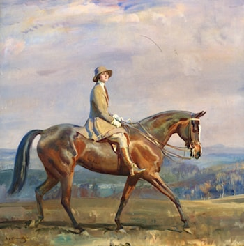 Portrait of Mrs Margaretta Park Frew Riding by Sir Alfred James Munnings