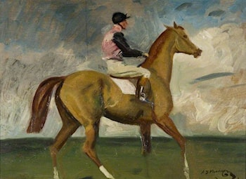 A Chestnut Racehorse with Jockey up in a Landscape by Sir Alfred James Munnings