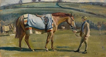 A Chestnut Racehorse Held by a Boy in a Landscape by Sir Alfred James Munnings