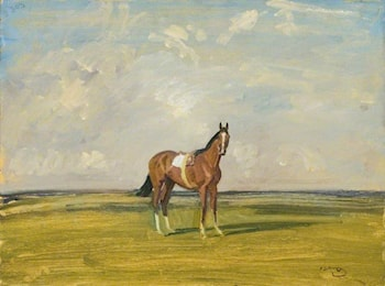 A Racehorse in a Landscape by Sir Alfred James Munnings