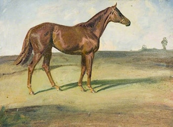 A Chestnut Horse in a Landscape ('Happy Laughter') by Sir Alfred James Munnings