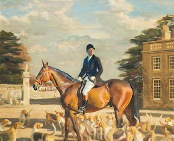 Major E. Shackle, Buckinghamshire Farmers' Hunt by Sir Alfred James Munnings