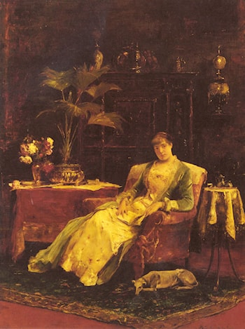 A lady seated in an Elegant Interior by Mihaly Munkacsy
