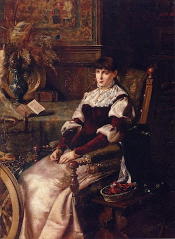 Lady With Spinning Wheel by Mihaly Munkacsy