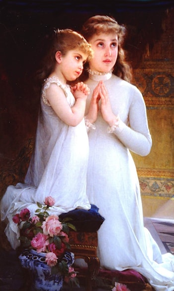 Two Girls Praying by Emile Munier