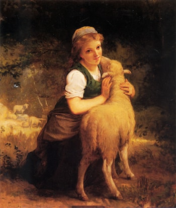 Young Girl with Lamb by Emile Munier
