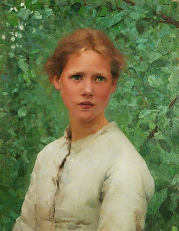 Portrait of a Girl's Head by Sir George Clausen