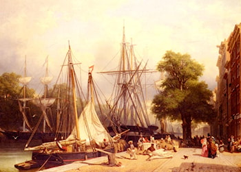 Activity By The Docks by Frans Arnold Breuhaus de Groot