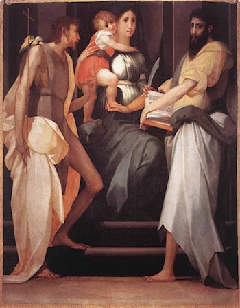 Madonna Enthroned between Two Saints by Rosso Fiorentino