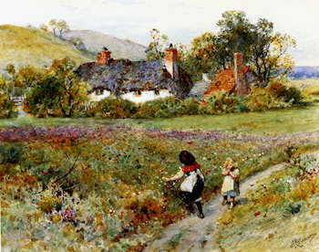 Children Playing On A Path, Cottages Beyond by William Stephen Coleman