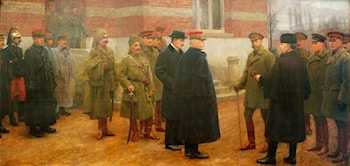 Merville, 1 December 1914, the Meeting of King George V and President Poincaré of France at the British Headquarters at Merville, France, on 1 December 1914 by Herbert Arnould Olivier