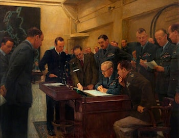 Operations Room Conference, Bomber Command, October 1943 by Herbert Arnould Olivier