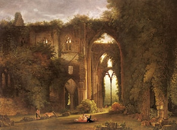 Tintern Abbey With Elegant Figures by Samuel Colman