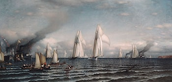 Finish­­First International Race for America's Cup, August 8, 1870 by Samuel Colman