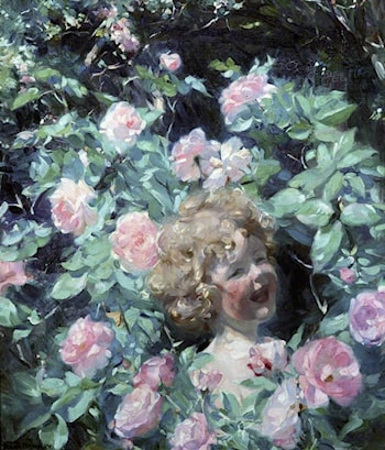Among the Roses by Frank Bramley