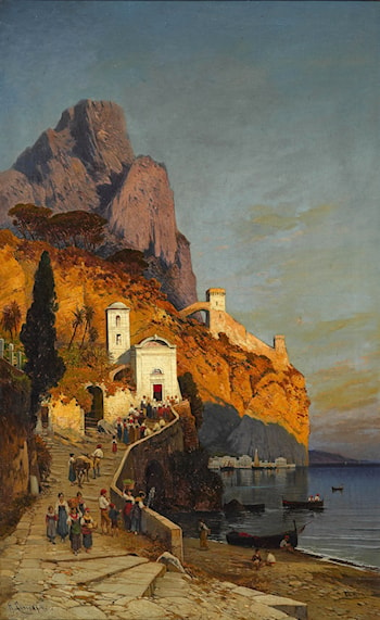 Morning Visit to the Church on the Coast of Sorrento by Hermann David Solomon Corrodi