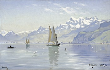 View of Lake, Vevey by Peder Mork Monsted
