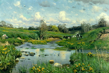 Cows Grazing by Peder Mork Monsted
