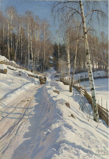 Sleigh Ride on a Sunny Winter Day by Peder Mork Monsted