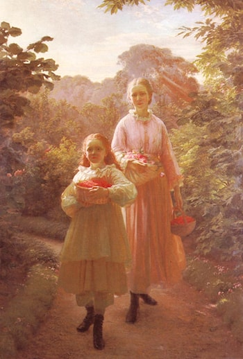 Sisters Gathering Raspberries And Roses, Summer by Ole Henrik Olrik