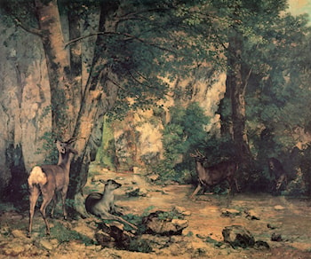 A Thicket of Deer at the Stream of Plaisir­Fountaine by Gustave Courbet