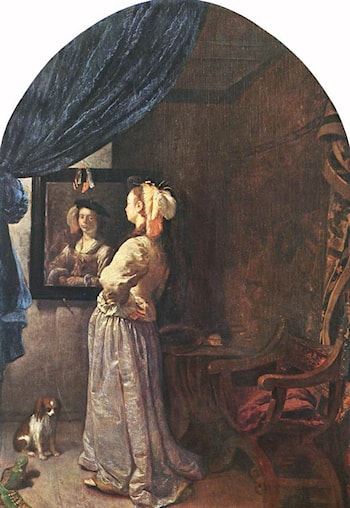 Woman before the mirror by Frans van Mieris