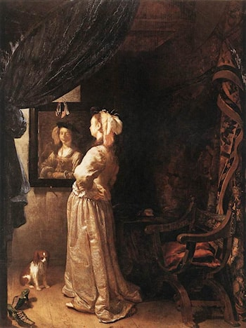 Woman before the mirror ­ detail by Frans van Mieris