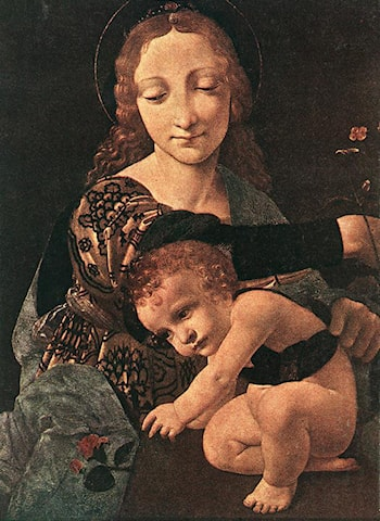 Virgin and Child with a Flower Vase (detail) by Giovanni Antonio Boltraffio