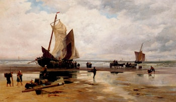 Boats On A Dutch Beach by Thomas Bush Hardy