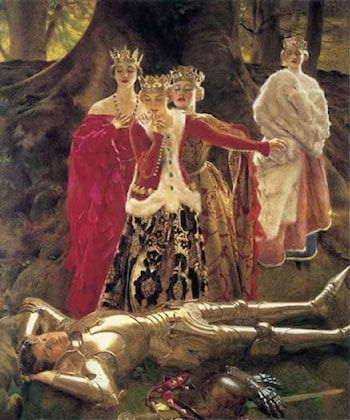 Four Queens Find Lancelot Sleeping by Frank Cadogan Cowper