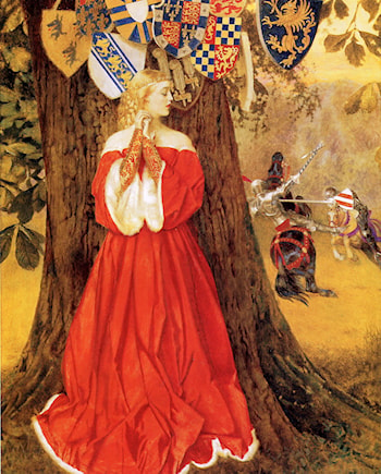 Lancelot Slays the Caitiff Knight Sir Tarquin and Rescues the Fair Lady and the Knight in Captivity by Frank Cadogan Cowper