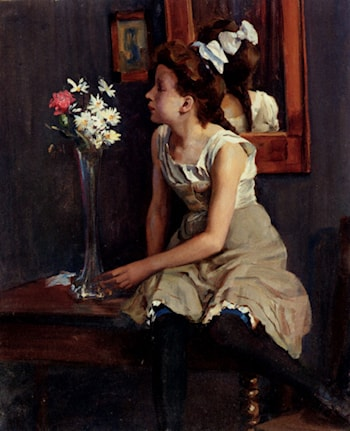 Girl In The Studio With Flowers by Erich Henning
